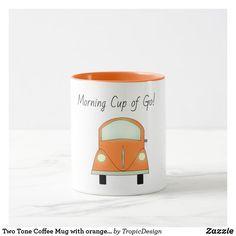 Two Tone Coffee Mug with orange car