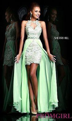 Sherri Hill High Low Prom Dress 9713 at PromGirl.com I wish it was a darker shade of green!