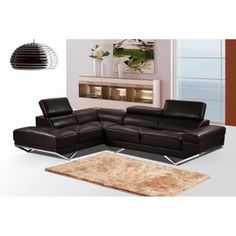 US Pride Furniture Iliana Brown Leather Sectional Sofa With Right-Facing Chaise, S0060R-2PC #leathersectionalsofas