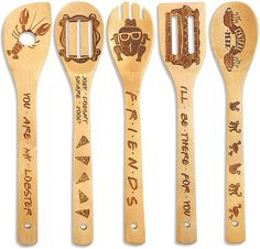 Cooking Utensils Set, Kitchen Utensil Set, Cooking Spoon, Kitchen Ideas, Wooden Spatula, Wooden Spoons, Apartment Warming Gifts, Friends Tv Show Gifts, Friends Moments