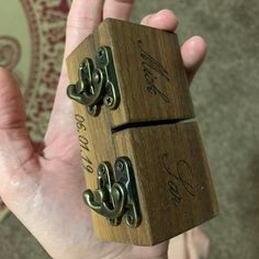 Sarah Machalak added a photo of their purchase Wedding Ring Box, Wedding Engagement, Engagement Rings, Wooden Ring Box, Wooden Rings, Proposal Ring Box, Engraving Fonts, Ring Bearer Box, Picture On Wood