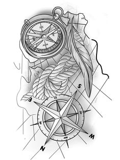 Compass Tattoo Drawing, Compass And Map Tattoo, Compass Tattoo Design, Tattoo Outline, Cool Forearm Tattoos, Arm Band Tattoo, Tattoo Sleeve Designs, Sleeve Tattoos, Tattoo Sketches