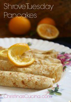 Traditional British Shrove Tuesday Pancakes  Lemon juice and sugar as topping