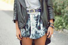 leather jacket, tie dye skirt, grey t-shirt, bracelets, ring, fashion, belt,