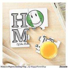 Home is Nigeria Smiling Flag Housewarming Puzzle Coaster