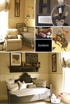 nursery idea - dark furniture with chair rail/wainscoating painted white on bottom of walls
