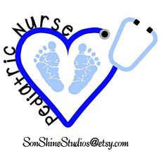 Pediatric Nurse Heart Stethoscope Monogram by sonshinestudios