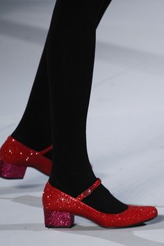 Sparkly Red Mary Janes Saint Laurent fall 2014