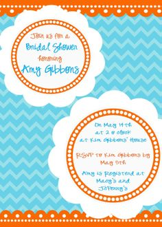 Blue and Orange Chevron Bridal Shower Invite!  Customized by You!