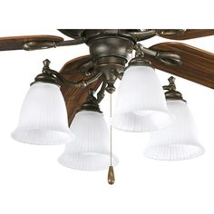 Progress Lighting Renovations Collection 4-light Forged Bronze Ceiling Fan Light