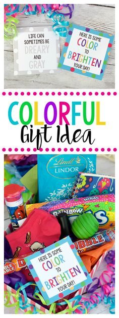 Bright & Colorful Cheer Up Gift Idea Cheer Up Gift Idea. This is such a fun and cheery gift idea. Throw some colorful gifts into a basket and your done! Boss Birthday Gift, Birthday Gifts For Best Friend, Birthday Diy, Best Friend Gifts, Birthday Nails, Birthday Recipes, Birthday Parties, Sister Birthday, Birthday Wishes