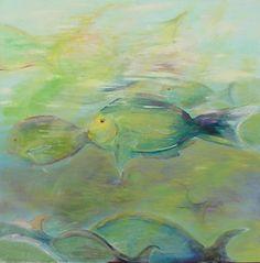 Fishes, oil on canvas, Öl auf Leinwand von Sabine Katterle