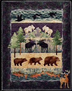 Quilt Inspiration: Moose Junction by McKenna Ryan Strip Quilts, Boy Quilts, Panel Quilts, Quilt Blocks, Man Quilt, Amish Quilts, Moose Quilt, Wildlife Quilts, Applique Quilt Patterns