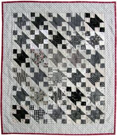Unusual black and white quilt using Victorian Mourning fabrics, Jack-Mourning-Quilt-1 by Q is for Quilter.