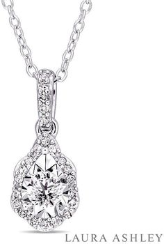 FINE JEWELRY Laura Ashley Womens 1/5 CT. T.W. White Diamond Sterling Silver Pendant Necklace