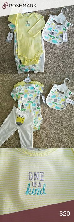 Carter's gender neutral bundle NWT Carter's unisex baby zoo animals bundle. NWT 3 piece layette outfit set that u can mix and match. 1 long sleeve onesie and 1 short sleeve onesie. Matching pants with a cute little giraffe on the booty. I'm also including the matching bib NWT. Gender neutral colors are yellow, white, mint, green and gray. So adorable. Carter's Matching Sets