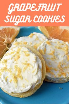 A delicous fresh summer dessert. Soft citrus grapefruit cookie topped with white chocolate buttercream. Kinds Of Desserts, Homemade Desserts, Easy Cake Recipes, Easy Desserts, Baking Recipes, Delicious Desserts, Dessert Recipes, Dessert Ideas, Desert Recipes