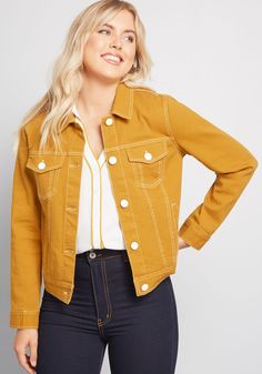 Layering this mustard yellow jean jacket over your shoulders means inviting brilliant color into your ensemble. Can't go wrong! A ModCloth namesake label piece with white stitching, coordinating enamel-covered buttons, pockets, and a hint of stretch Knit Blazer, Knit Jacket, Leather Jacket, Leather Coats, Color Type, Yellow Jeans, Trench Coat Style, Embroidered Bomber Jacket, Floral Blazer