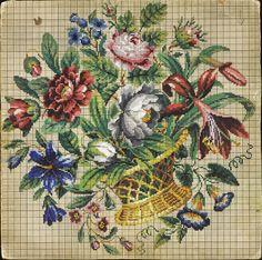 Basket of Flowers. Berlin Wool Work