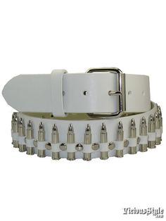 Black Leather Silver Replica Bullets Biker Punk Rock Belt Strap w// Roller Buckle