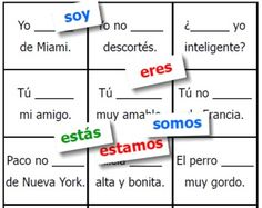 "This simple card game gives Spanish teachers an easy way to provide extra practice for students conjugating those two tricky ""to be"" verbs, ser and estar.Included in this free printable set are 30 small conjugated verb cards (3 each of soy, eres, es...) and 30 missing-verb Spanish sentence cards (each of which can be completed by one of the verb cards).If you enjoy this Fran's Freebies game, please show your support by sending your friends and followers to the new site being built by the…"