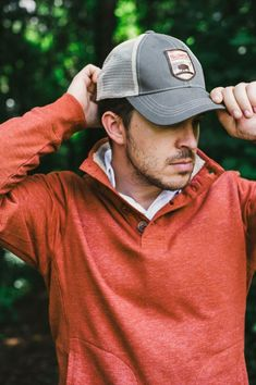 Stylish men's pullover by Buffalo Jackson Trading Co. Just right for a fall afternoon of tailgating or a cool night on the town. Button-up placket, sherpa-lined stand up collar, front pockets. Also available in Montana Sky. Shown here in Moab.