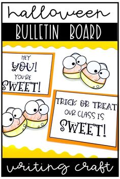 """This is an easy to prep kindness Halloween writing craftivity bulletin board or door decoration for fall. Your students will love thinking about each other or their class in a positive way. The headings included are """"Hey You! You're Sweet!"""" and """"Trick or Treat! Our Class is Sweet!"""" Teaching Activities, Teaching Writing, Classroom Activities, Teaching Kids, Activities For Kids, Creative Teaching, Teaching Resources, Fall Classroom Decorations, Classroom Crafts"""