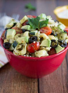 Tortellini Pesto Pasta Salad - healthy and delicious!