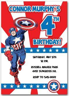 Captain America Birthday Party Invitations Personalized | Captain ...