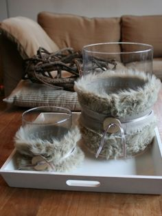 instead of the sweater around the candles use faux fur and ribbon