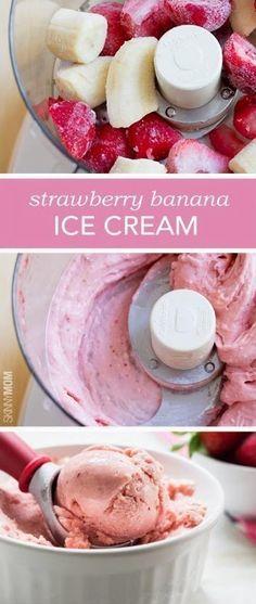 4 Ingredient Strawberry Banana Ice Cream - Artisan Cook