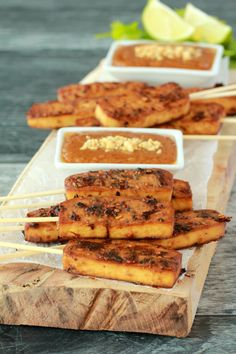 Crispy baked tofu satay served with peanut sauce. This high-protein appetizer is marinaded and then baked for the most deliciously flavored tofu experience. Gluten-Free optional! | lovingitvegan.com