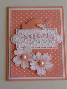 Polka dots! handmade birthday card. monochromatic... pretty arrangement of stamped and die cut elements