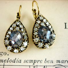 Beautiful Drop Earrings with Rhinestones by PortugueseVintage, $5.00