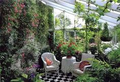 Increasing Living Spaces with Outdoor Seating Areas Decorated with Beautiful Flowers Beautiful Gardens, Beautiful Flowers, Conservatory Plants, Conservatory Interiors, Victorian Conservatory, Gazebos, Outdoor Rooms, Outdoor Decor, Outdoor Seating