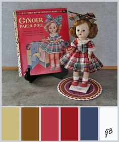 1950s Ginger Doll and Ginger Paper Doll Book with color palette