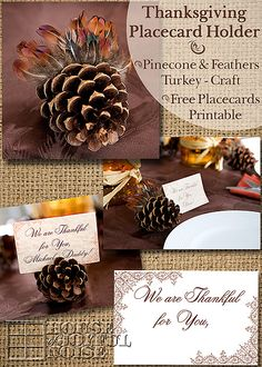 Thanksgiving Place Card Holder Turkey / Free Personalizable Place Cards Printable |