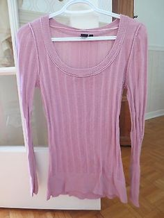 Simons-Twik-Montreal-Pink-Ribbed-Sweater-Long-Sleeve-S-Scoop-Neck-Thin-Knit-EUC