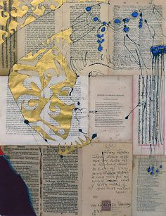 Robert Kushner(American, 1949)  HEADDRESS   2010   From 30 Literary Nudes  ACRYLIC, GOLD LEAF, OIL, INK, COLLAGE ON ANTIQUE PAPER