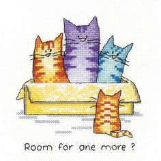 11 x 11 DIMENSIONS Too Pooped Sleeping Cat Counted Cross Stitch Kit 14 Count Ivory Aida