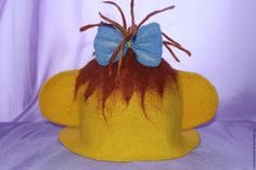 Купить Шапочка для бани ВЕСЕЛАЯ ОБЕЗЬЯНКА - желтый, абстрактный, яркая шапочка, шапочка для бани