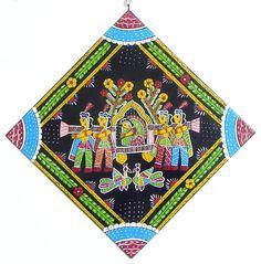 Bride in the Palanquin - Wall Hanging (Madhubani Folk Art on Hardboard)) Folk Art, Krishna Radha, Bride, Wall, Cards, Painting, Home Decor, Wedding Bride, Decoration Home