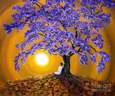 Jacaranda Painting - Jacaranda Sunset Meditation by Laura Iverson