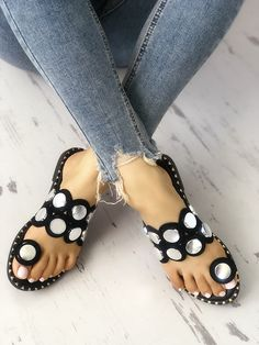 Shop Button Decorated Toe Ring Flat Sandals right now, get great deals at joyshoetique Shoe Boots, Shoes Sandals, Flats, Wedge Sandals, Gladiator Sandals, Leather Sandals, Pretty Shoes, Cute Shoes, All About Shoes