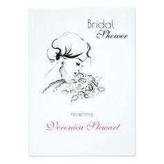 #Elegamt Bridal Shower Fashion Illustration Card - #weddinginvitations #wedding #invitations #party #card #cards #invitation #elegant