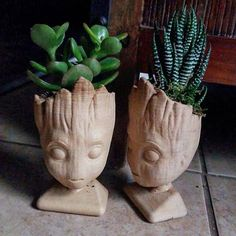 These cute Baby Groot planters are 3dPrinted in a Wood/Plastic PLA Filament. Each one is hand sanded after being printed to give it a nice finish Baby Groot Planter measures 4.5 Tall, 2.4 Wide and 2.4 Deep with a 1.8 Diameter hole for a small plant and has two small drainage holes.