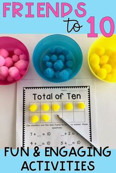 Assist your students to become confident and competent little mathematicians with this jam-packed addition and subtraction resource. It includes 10 bright bulletin board posters and a series of 12 rigorous activities to build up your students fluency in number bonds to 10, including games, reflections, and open-ended problems {first grade, 1st grade, Grade 1, Year 1, homeschool} #rainbowskycreations Numeracy Activities, Subtraction Activities, Hands On Activities, Number Bonds Activities, Teaching Addition, Math Addition, Addition And Subtraction, Number Bond Games, Number Bonds To 10