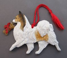 Papillon Dog Breed Christmas Ornament Tri Color at For Love of a Dog.  Handmade in the USA