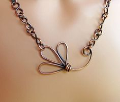 Copper Flower Handmade Chain Necklace by sparkflight on Etsy. $70.00 USD, via Etsy.