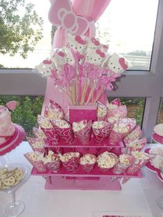 Treats at a Hello Kitty Birthday Party!  See more party ideas at CatchMyParty.com!
